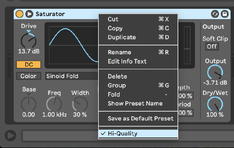 PIC 11: Setting Saturator to Hi-Quality.