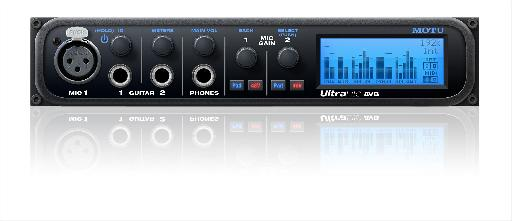 The MOTU Ultralite AVB 18-in/18-out mobile audio interface (front view).