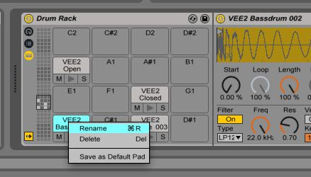 Use Command-R to rename your Drum Pads.