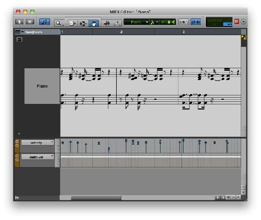 The MIDI Editor in Notation View