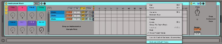 Saving an Instrument Rack as my Default Instrument Rack Preset with Macros pre-named and colored, the Chain Selector already mapped to the Morph Macro, and three Chains, each with a Pitch MIDI Effect to easily stack Instrument layers at different octaves.