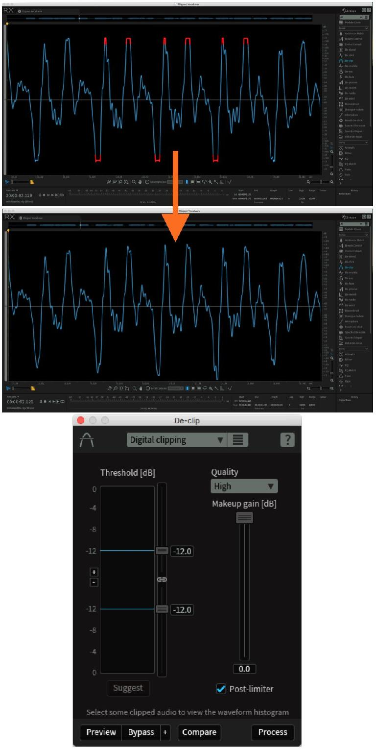 RX's De-clip module is capable of repairing clipped audio Audio example 1 A clipped vocal recording; the clipping repaired with De-clip