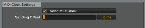 MIDI clock settings