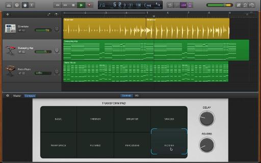 A sneak peek of the new Transform pad synth controller in the upcoming update to GarageBand.