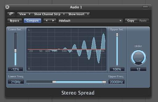 Logic's Stereo Spread effect allows lower frequencies to remain in mono.