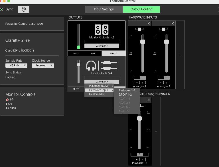 Focusrite Control app (outputs)