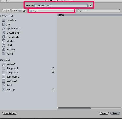 Pic 13. Naming the channel strips settings.