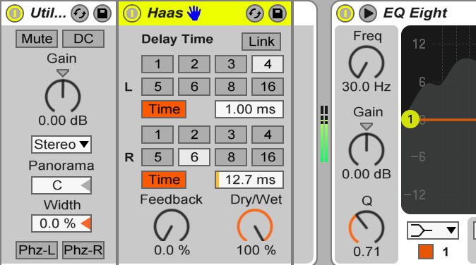 A lower delay time will create a tighter and more defined stereo effect and also avoids the detection of any flam being heard with transients in a sound.
