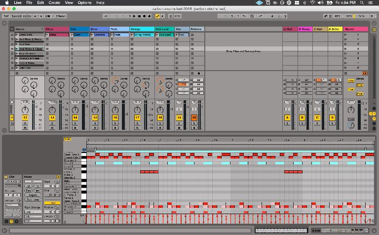 Drum clip versions laid out and named in the leftmost visible track.