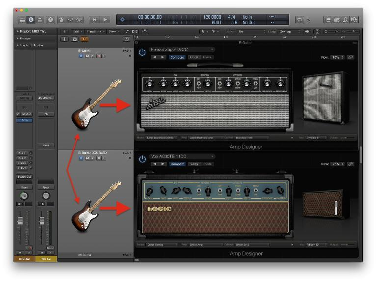 Fig 2 Running a doubled guitar through different amps can help distinguish the tracks more subtly than just different EQ