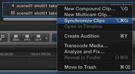 Two clips selected, then right-clicked