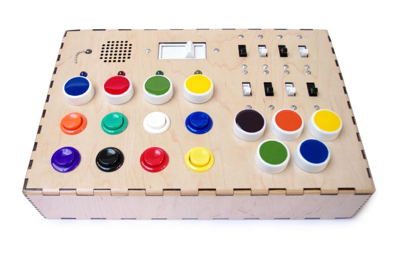 A DIY synth that uses retro arcade buttons for playing notes. Source: http://www.instructables.com/id/My-First-Synth/