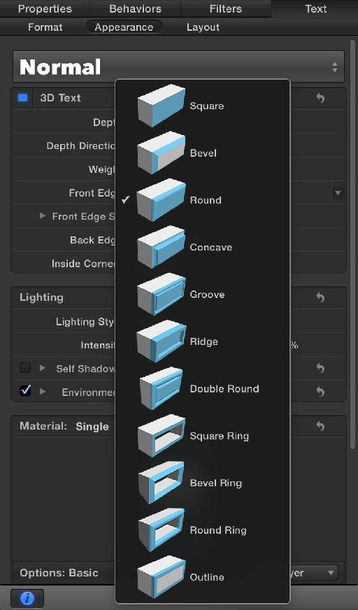 The bevel options for 3D Text in the new Motion.