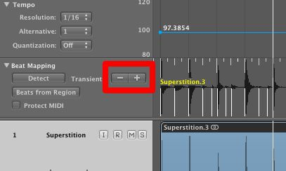 Click the Plus and minus buttons to ensure all subdivisions of the groove are detected