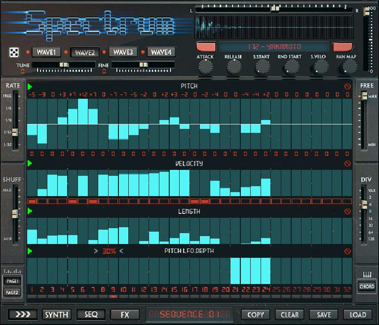Page one of the Spectrum sequencer.