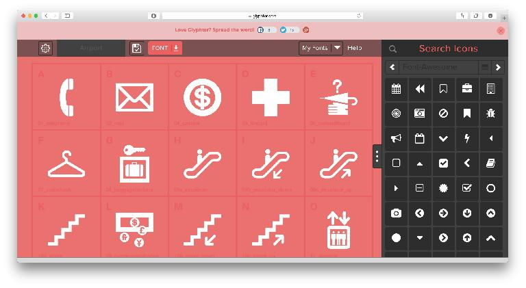 Drag pre-made symbols or SVGs to characters, then download your font.