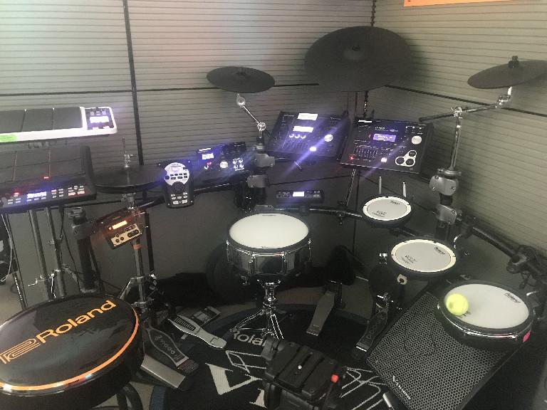 This multi-model V-Drums set up in Roland's product support center is like the inside of s spaceship... for drummers!