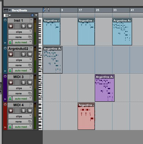 Default view of MIDI recorded in Pro Tools.