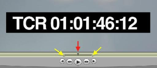 Figure 4: Details of the Quicktime Pro transport. Red arrow indicates the Playhead. Yellow arrows indicate the In and Out point 'handles'. Each can be nudged frame by frame with the left and right arrows on your computer keyboard.