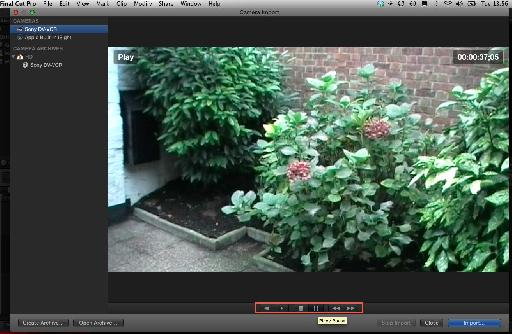 View of footage on the connected camera
