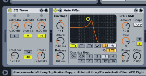 The EQ and Autofilter plug-ins