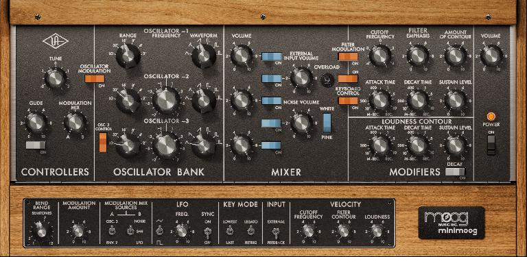 Minimoog plugin instrument for UA Luna
