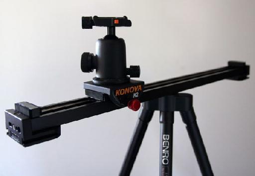 The Konova K2 slider, on my Benro travel tripod, with a ball head on top