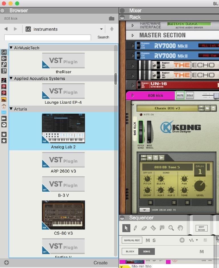 VST plugs shown in the Browser