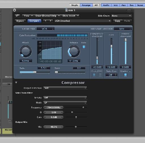 Many of Logic's plug-ins are capable of fast parallel processing using the mix control.