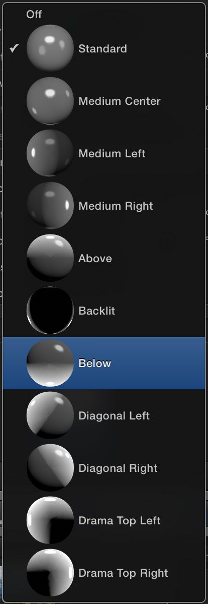 Several lighting presets.