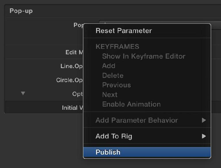 To keep it simple in FCP X, publish only the parameters you need to
