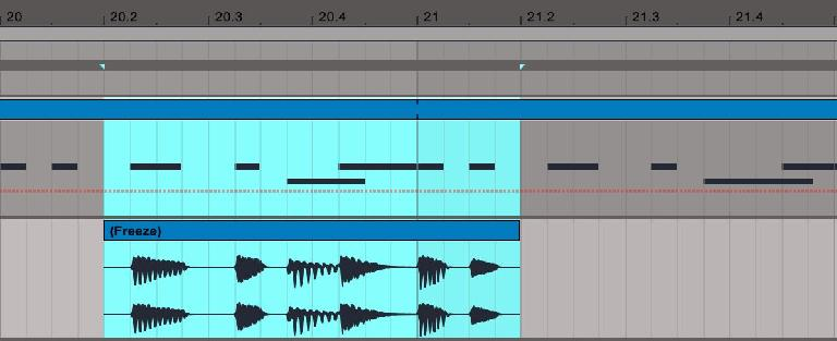 PIC 3: A section of the frozen track copied to an audio track.