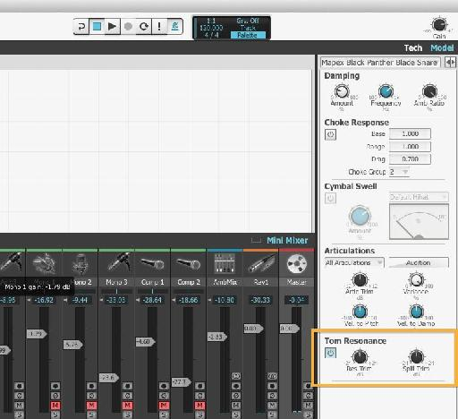 Resonance - A new feature for BFD3, tom resonance is one of several adjustments you can make to get a realistic drum sound.