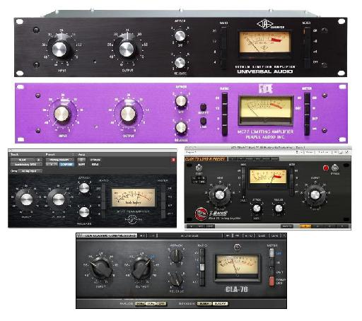 Some hardware & software versions of the 1176, a popular compressor for drums.