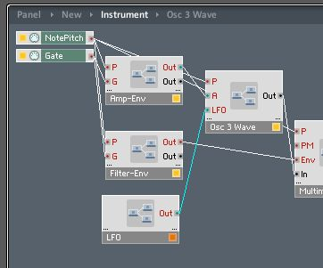 Connecting Instrument structure to OSC3 Wave macro