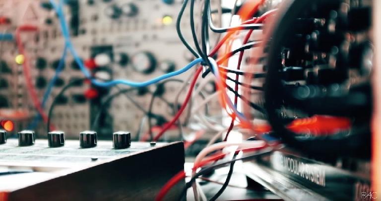 Close up of RAC's modular synthesizer.