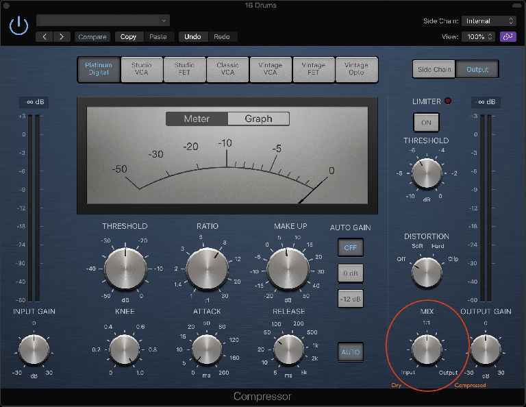 Fig 3 A Mix control allows for parallel compression without the need for external routing