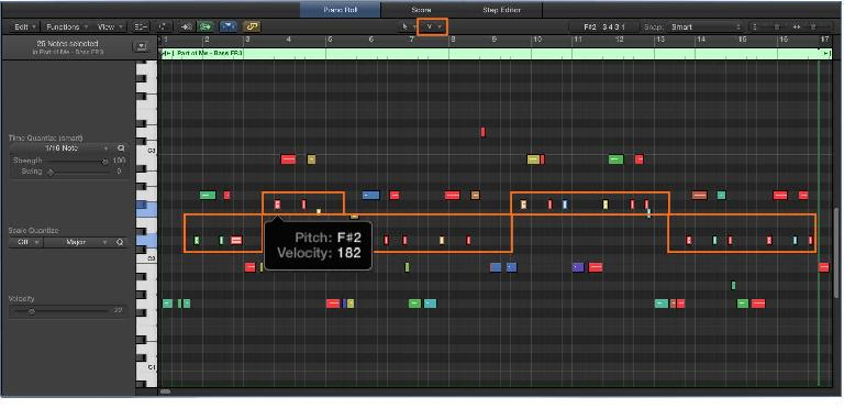 Fig 5 Editing MIDI notes and Velocities in the Piano Roll Editor