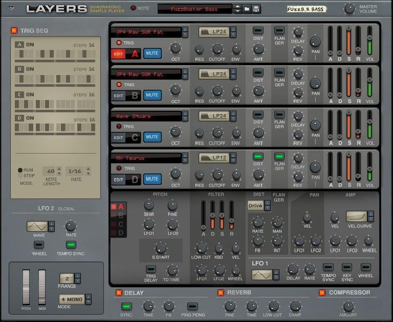 Propellerhead Layers Rack Extension GUI.