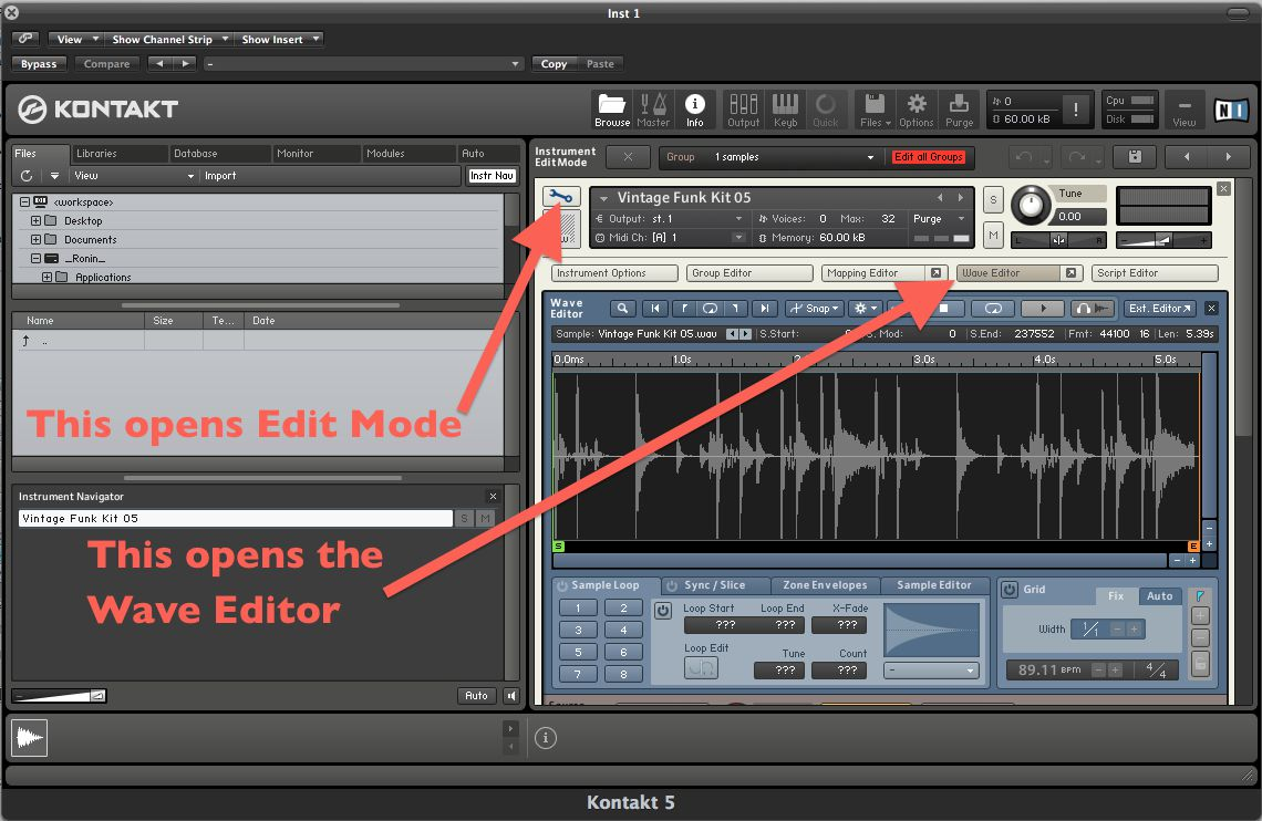 Open the Edit Mode and the Wave Editor