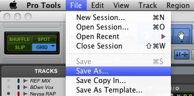 Figure 2: The 'Save As'¦' dialog from ProTools 9.