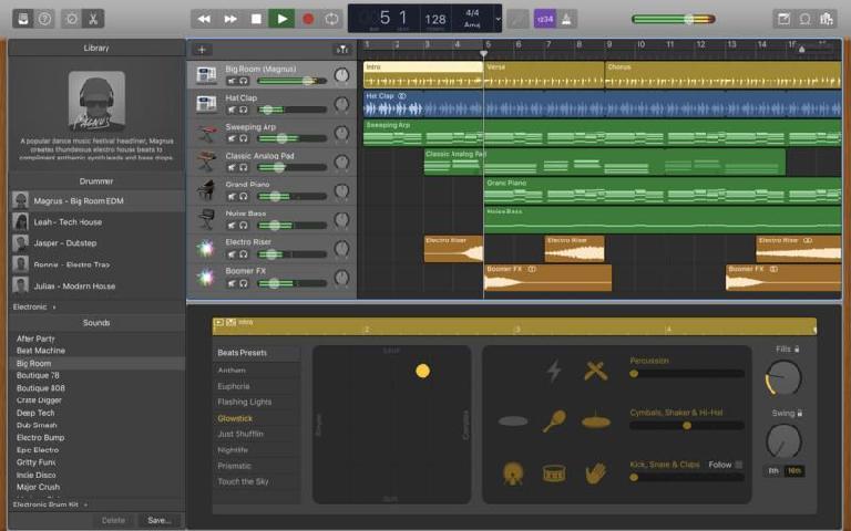 GarageBand 10.2 includes three new drummers.