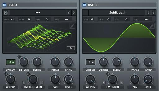 One click on the waveform view will show you the entire Wavetable Set in 3D (Osc A) with the current wavetable position highlighted in yellow.