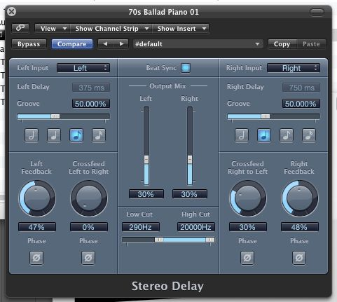 Logic Pro's Stereo Delay plug-in