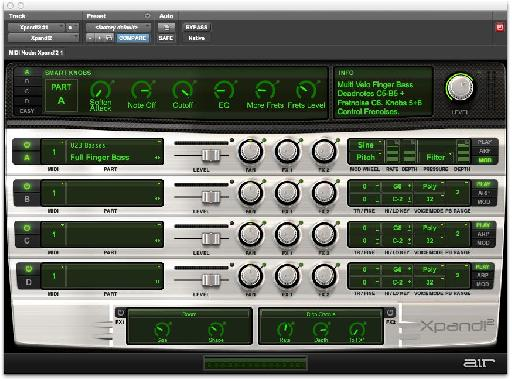 Fig. 1: Xpand!2, Pro Tools' compreshensive sample-playback/synth virtual instrument.