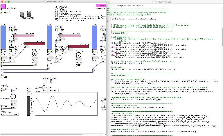 Examples of programming audio software using Pure Data (left) and Maximilian (right)