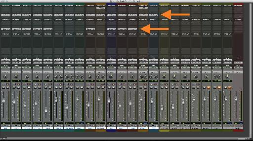 Two rows of plug-ins instantiated on Selected Tracks with Option-Shift, from a mono Track: 