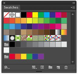 The Swatches panel with a few patterns added.