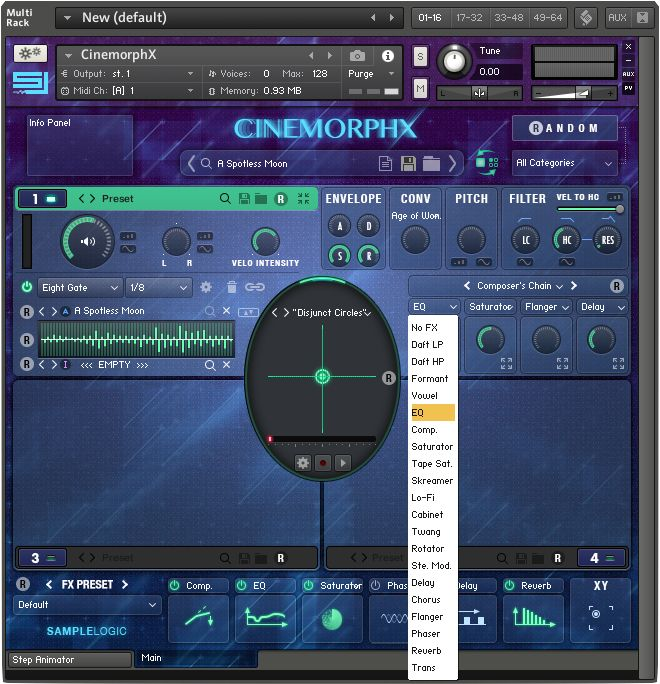 Fig. 5—A Soundcore in CinemorphX, showing the Soundsources, Morph Animator, parameters, and effects.