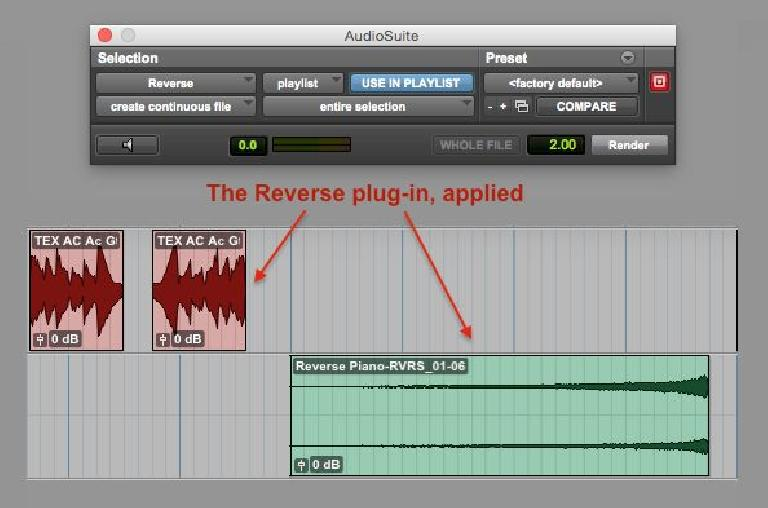 Fig 4 The Reverse plug-in, applied to audio examples.